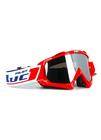 Masque Cross Luc1 Masque Cross PILOT - TEAM LUC1 - rouge - Ecran Iridium Chrome +ecran transparent