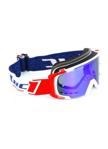 Masque Cross Luc1 Masque Cross LUCKY - TEAM LUC1 - Blanc/Rouge - Ecran iridium Bleu +transparent