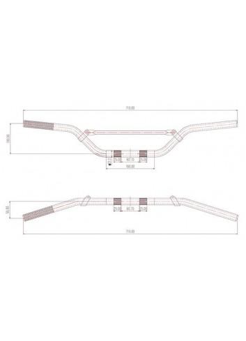 Cross 22.2mm Sifam Guidon Aluminium Pour Minicross - Couleur Alu + Mousse