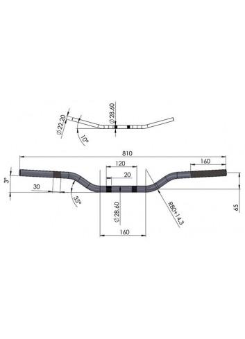 Cross 28.6mm Sifam Guidon Aluminium Fatbar - O28.6 mm - 810*65 - Couleur Aluminium