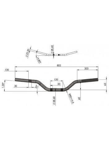 Cross 28.6mm Sifam Guidon Aluminium Fatbar - O28.6 mm - 802*65 - Couleur Aluminium