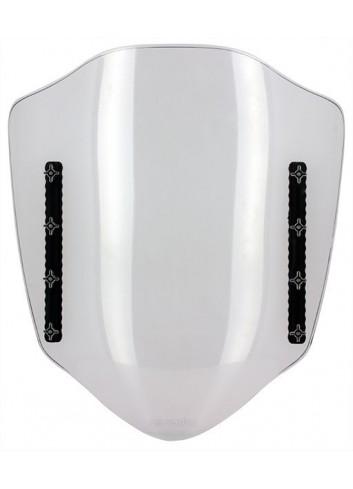 Universel Kyoto Parebrise Transparent Reglable L 430/450mm + Kit Fixation Retroviseur