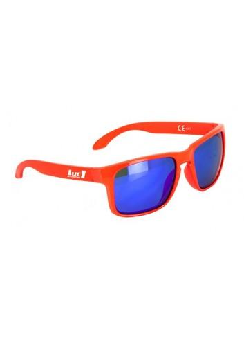 Solaires Luc1 Lunettes De Soleil Rouge Fluo LUC1 - Verres Miroir Bleu Cat. 3 - CE 100% UV Prot