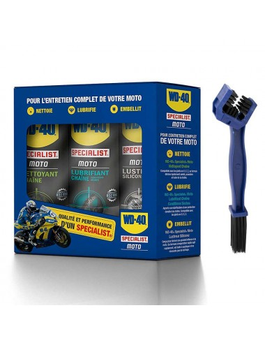 Aérosol Multi Fonction Wd40 KIT SPRAY TRIPACK WD40 + BROSS SPECIALE CHAINE